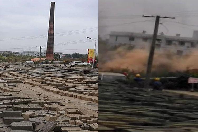 龙洞镇:成功爆破拆除两处废弃烟囱